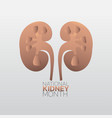 national kidney month icon design infographic vector image vector image