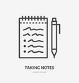 notebook with pen flat line icon thin sign vector image