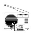 old radio stereo with cassette in black and white vector image