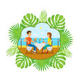 people couple dining in restaurant seaside vector image vector image