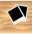 Photoframe on the tropical veack yellow sand vector image vector image