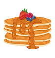 pile pancakes with berries vector image