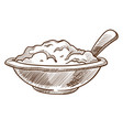 porridge in bowl with spoon isolated sketch vector image vector image