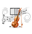 realistic violin and music notation flow vector image vector image