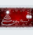 red design with christmas tree and christmas balls vector image vector image