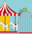 roller coaster and carousel carnival fun fair vector image
