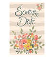 save the date with flowers and stripes pink vector image vector image