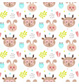 seamless pattern with cute happy animals vector image
