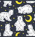 seamless pattern with white bear and constellation vector image vector image