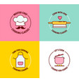 set logo for cooking classes and courses vector image vector image