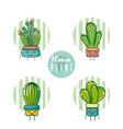set of cute houseplants cartoon vector image