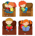set of doodle kids studying vector image vector image