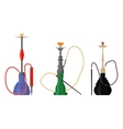 Set of hookah with pipe for tobacco smoke vector image vector image