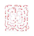 set red arrows hand drawn doodle vector image vector image