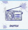 sketch line radio with antenna icon isolated on vector image vector image