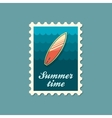 Surfboard on the water stamp Summer Vacation vector image