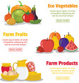 three flat farm product banners vector image