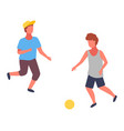 two boys playing football boy in cap and blue t vector image