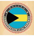 Vintage label cards of Bahamas flag vector image vector image