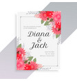 wedding invitation template with beautiful floral vector image vector image