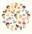 collection of kids and animals vector image