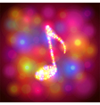 Note symbol from colorful bokeh background vector image