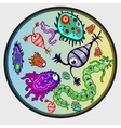 Various microbes colorful image of creature vector image