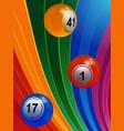 3d bingo balls over multicoloured background vector image vector image