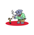 an elephant dressed with a shirt having a coffee vector image vector image