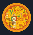 banner with italian pizza and landmarks vector image