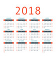 calendar 2018 year simple style vector image
