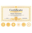 certificate sample with place for name and surname vector image