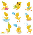 cute funny little duckling character set yellow vector image vector image