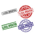 damaged textured illegal operation stamp seals vector image