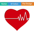 Flat design icon of Heart with cardio diagram vector image