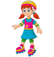 funny girl cartoon plying roller skates vector image vector image