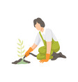 girl watering seedlings with a hose people vector image vector image