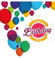 happy birthday explosion confetti balloons card vector image