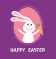 happy easter bunny rabbit hare holding carrot vector image vector image