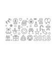 happy new year 2018 linear horizontal vector image