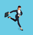 isometric running businesswoman isolated vector image vector image