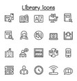 library icon set in thin line style for website vector image