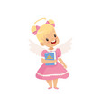 little winged girl with halo on her head standing vector image