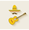 Mexican sombrero and guitar vector image vector image