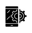 mobile service black icon concept vector image vector image