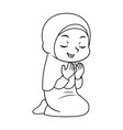 moslem girl hajj praying bw vector image vector image