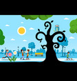 park with trees and people day in city vector image vector image