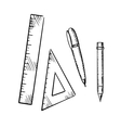 Pencil pen triangle and ruler sketch icons vector image vector image