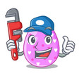 plumber color the easter eggs isolated mascot vector image