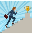 Pop Art Business Woman Walking Up Stairs to Cup vector image